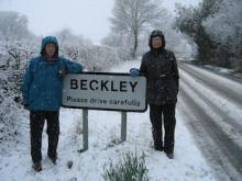 Richard and Wendy from St Louans enjoying the snow during our Spring[!] supper w/e